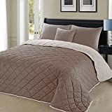 Christian Geometric Pattern Reversible Cotton Rich Quilted Bedspread - 200x200cm - Chocolate & White