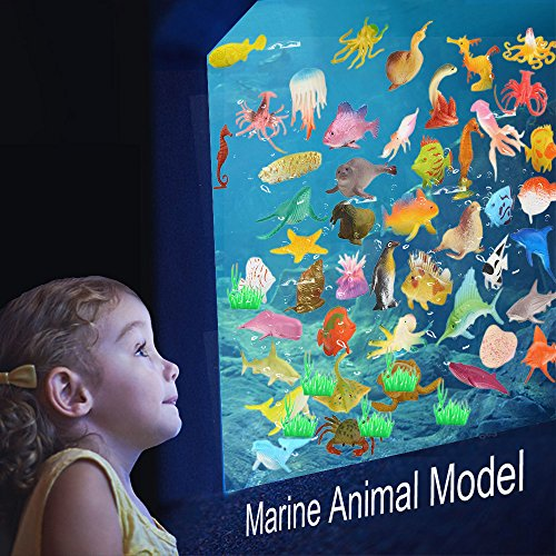 Goolsky 52 Pcs Ocean Sea Animal Assortment Mini Vinyl Plastic Animal Toy Set Realistic Sea Life Figure Educational Bathroom Toy for Kids Party Cake Cupcake Topper