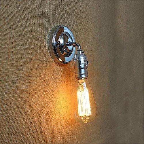 E27 European Style Industrial Retro modern Edison Lampe 1 Head Wall Lampen-Gang Wohnzimmer Garage Keller Mini Indoor Lighting Mauer Licht klein Wandlampen mit Schalter,Chrome/B -