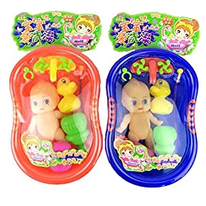 GreatestPAK Baby Shower Accessories Set, Pretend Role Play Toy Baby Doll in Bath Tub Kids Gift