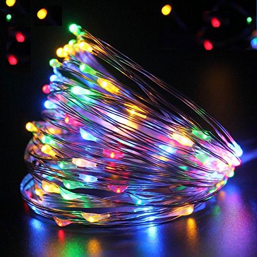 PMS 50 LED Lichterkette Batterie-betrieben Wasserdicht Silbernem Kupferdraht Außen und Innen Weihnachts beleuchtung, Garten, Party, und Haus Deko (50LEDs, Bunt)
