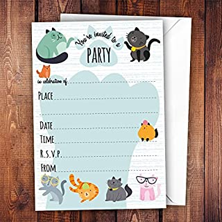 All-Ways Design Pack of 20 Glossy Funny Cats Birthday Party Invitations Cards with 20 x Envelopes, cute, glossy surface, pets, for cat lovers, for adults and children, birthday celebration