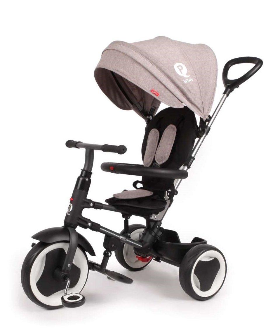 Triciclo Evolutivo Plegable QPlay Rito – Gris – Niños de 10 hasta 36 meses – Peso soportable hasta 25 Kg