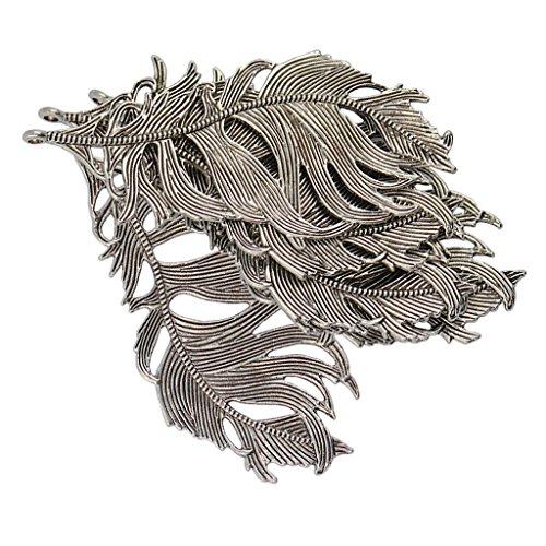 20 Teile Vintage Tibetische Charms DIY Halskette Armband Große Feder Anhänger Kette für Schmuckherstellung