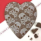 Large Milk Chocolate Heart with Skull Design 130g