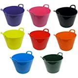 40L 40 Litre Large Robust Flexi Tubs - Set of 3 - Mixed Assorted Colours Randomly Picked - Multi Purpose Flexible Rubber…