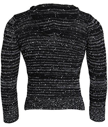 TAZZIO Herren Kapuzenpullover Strickpullover Grobstrick Warmer Hoodie Winter Sweatshirt Pulli Größe S - XL Schwarz Carlet