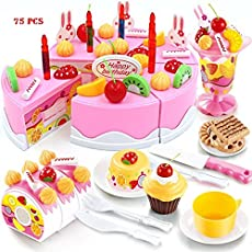 FunBlast 75 Pcs Birthday DIY Cake Pretend Play Toys, Birthday Party Cake Cutting Set Toy for Kids