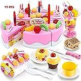 FunBlast 75 Pcs Birthday DIY Cake Pretend Play Toys, Birthday Party Cake Cutting Set Toy for Kids