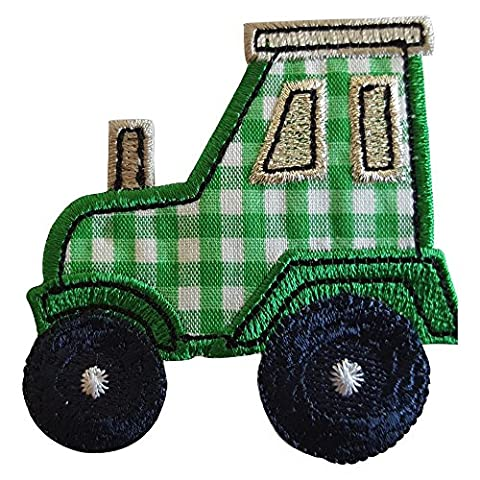 2 Ecussons patch appliques Tracteur 7X7Cm Crocodile 9X3Cm thermocollant brode broderie pour vetement jeans veste enfant bebe femme avec dessin TrickyBoo Zurich Suisse pour France