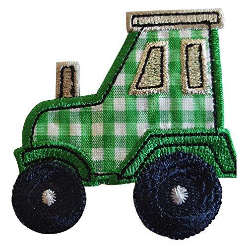 2 Aufbügler Traktor 7X7cm Glitzer Stern 9X9cm Set Aufnäher Flicken Applikationen zum Ausbessern von Kinder Kleidung mit Design TrickyBoo Zürich Schweiz für Deutschland und Österreich