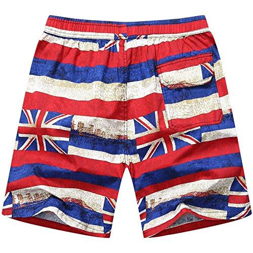 HOOM-Nouveau pantalon de plage d'été occasionnels Shorts hommes Camo coton taille lâche cinq pantalons shorts Red a