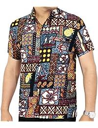 La Leela 3 en 1 classic bouton manches courtes lisse tropicale thème loungewear plage occasionnel parti bureau regular holiday ajustement vers le hawaïen robe chemise grise camp devant poche hommes
