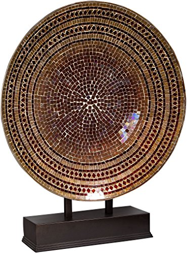 "Home Essentials 24"" D Chocolate Glass Mosaic Platter on Stand, Brown"
