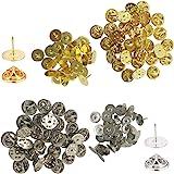 YuCool - Embrague de mariposa con pasadores en blanco, 60 unidades, repuesto para manualidades y fabricación de joyas (30 pla