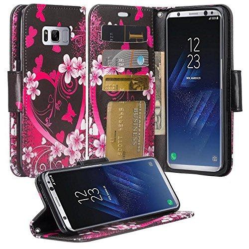 Samsung Galaxy S8Plus Fall, phonelicious Geldbörse PU Leder Case Premium Tasche ID Kreditkarte Flip Folio Book Stil mit Geld Slot, Heart Sakura Hearts Hard Case, Snap
