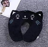 xinyiwei - Cojín de viaje para el cuello, diseño de gato en forma de U, color negro
