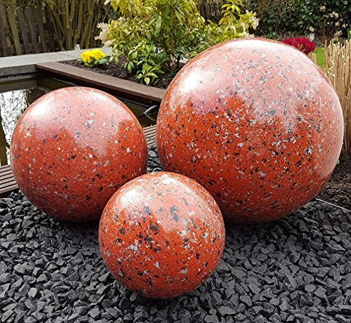 Kugel aus Edelstahl 20 cm Dekokugel Granit rot Dekorationskugel Edelstahlkugel