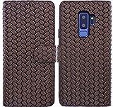 Burkley Leder-Hülle für Samsung Galaxy S9 Plus (S9+) Handyhülle Handytasche Schutzhülle Klapphülle Book-Case - Echtleder - bruchfeste Innenschale - Kartenfach - QI-fähig (Braun/Geflochten)