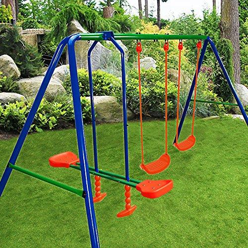 Deuba Schaukelgerüst Schaukel für Kinder | Schaukelwippe | 50kg pro Sitz | Schutzprotektoren | Gartenschaukel Kinderschaukel Spielgerüst