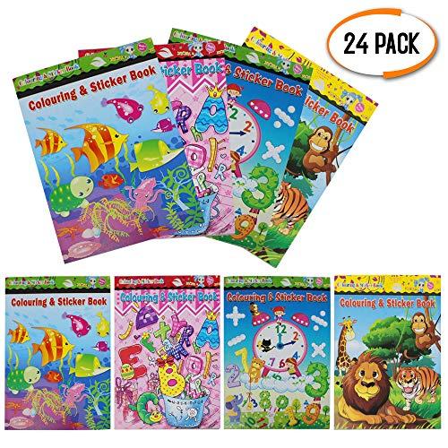 24 assortiti libro da colorare e etichetta per bambini - mini attività artistica - festa di compleanno sacchetti regalo giocattolo, pinata, educativi di apprendimento per ragazze e ragazzi