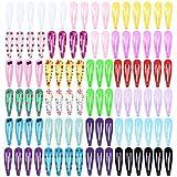 Haarspangen Mädchen - 100 Stück Snap Haarklammern Kinder Verschiedene Farben Metall Haarclips für Kinder Mädchen Frauen
