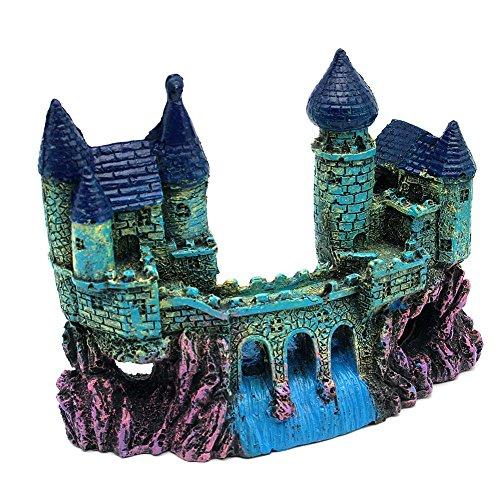 Castillo medieval con acueducto y rio de resina para la decoracion de acuario