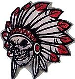 Indianer Aufnäher Iron on Patches für Jacken Jeans Kleidung Aufbügler Applikation Stickerei Indianer 7,5 x 7,5 cm