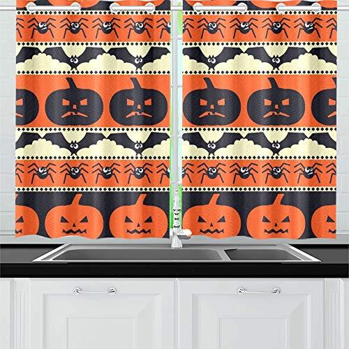 (JIUCHUAN Halloween Kürbisse Fledermäuse Spinnen Küchenvorhänge Fenster Vorhangebenen für Café, Bad, Wäscherei, Wohnzimmer Schlafzimmer 26 X 39 Zoll 2 Stück)