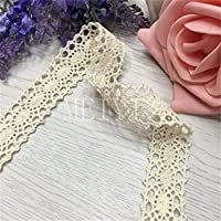 10 Meter Cotton Crochet Lace Edging Trim Ribbon 2cm Width Vintage Ivory Edging Trimmings Fabric Embroidered Applique Sewing Craft Wedding Bridal Dress Embellishment Masking Tape Decoration Embroidery