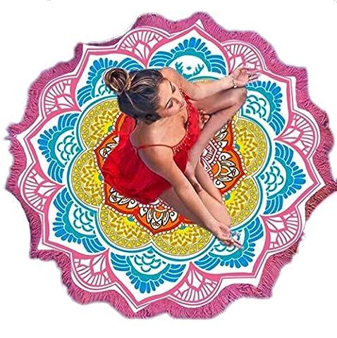Large Round Lotus Flower Mandala Tapestry Beach Towel & Blanket Table Cloth Fringe Tassel Beach Blanket Yoga Mat