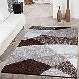 T&T Design Moderner Hochflor Teppich Shaggy Vigo Gemustert in Braun Beige Creme Top Preis!!, Größe:120x170 cm