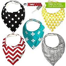 Set de 5 pañuelos / baberos unisex para bebés, ajustables con corchetes, con cinta con pinza para chupete o mordedores, fabricados en suave algodón superabsorbente, la parte trasera está fabricada en suave forro polar