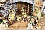 Figuren für große Weihnachtskrippen aus Holz hochwertige Krippenfiguren in Geschenkbox Holzoptik KFG-HO-Box Holzfiguren-OPTIK handbemalt und GEBEIZT - präsise saubere Gesichtszüge Mienen natürliche Mimik