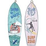 CAPRILO. Set de 2 Adornos Pared Decorativos de Madera Tablas Surf Surfer. Cuadros y Apliques. Regalos Originales. Decoración