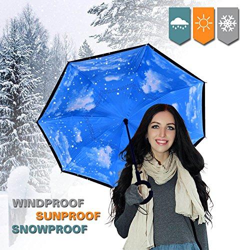 Doble capa paraguas invertido con mango resistente al viento en forma UV prueba para al aire libre Viajes y uso de coche