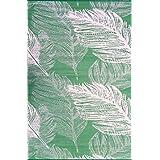"""Green Decore 150 x 240 cm """"Leaves"""" Alfombra Ecológica para Interiores y Exteriores de Plástico Reciclado - Ligera y Reversible - Indoor / Outdoor, Verde / Crema"""