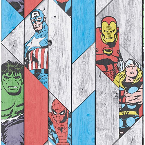 Price comparison product image Marvel Wood Panel Thor Spiderman Hulk Captain America Wallpaper