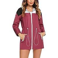 Doaraha Giacche Impermeabili da Donna Giacca a Vento Sportiva Cappotto Lungo Impermeabile con Cappuccio Impermeabile…