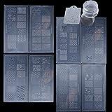 98 modelli 8pz Stampi per Unghie + 1pz Timbro Silicone + 1pz Raschietto con Stampa Plastica Strumenti Decorazioni Piastre Immagini Kit da 10