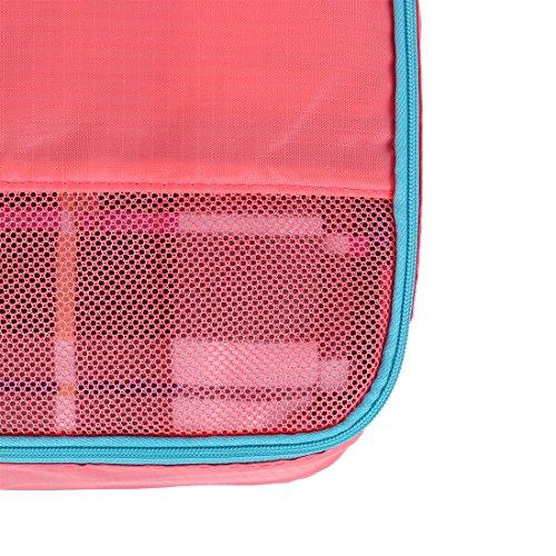 sourcingmap® 4stk. Blau Wasserbeständig Kleidung Aufbewahrungsbeutel Würfel Reisen Organizer