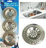 3 x Sink Strainer Bath Basin Plughole Filter Kitchen Metal Strainers