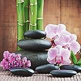 Artland Qualitätsbilder I Glasbilder Deko Glas Bilder 20 x 20 cm Wellness Zen Stein Foto Pink Rosa A6MJ Spa Konzept mit Zen Steinen und Orchideen