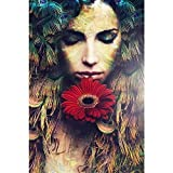 Gifts Flowers Food Best Deals - ArtzFolio Beautiful Woman Portrait With Flower - Medium Size 12.0 inch x 18.0 inch - UNFRAMED PREMIUM PAPER POSTER Wall Artwork Digital PRINT like HAND PAINTINGS : BEAUTIFUL INTERIOR Home Décor Photo Gifts & Decorative Paintings for Living, Drawing, D