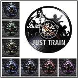 Fitness Club The Beast Orologio da Parete Motivation Gym Wall Decor Orologio da Parete Vinyl Record Bodybuilding Bollitore Campana Retro Orologio da Parete, KHDZ-12230017,12 Pollici con LED