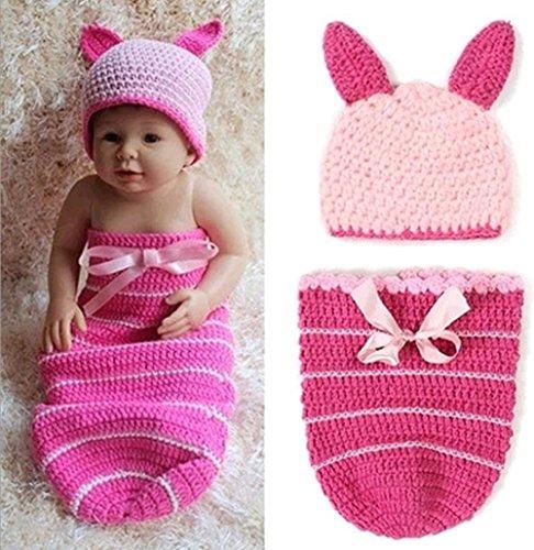 Veewon Neugeborenes Baby Mädchen Kostüm Fotografie Foto Props Häkelarbeitknit Baby-Outfits Set (Rosa)