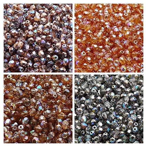 400 Stück 4 Farben, Tschechische Facettierten Glasperlen, Fire-Polished, Runde 4 mm, Set 425 (4FP102 4FP103 4FP112 4FP114) -