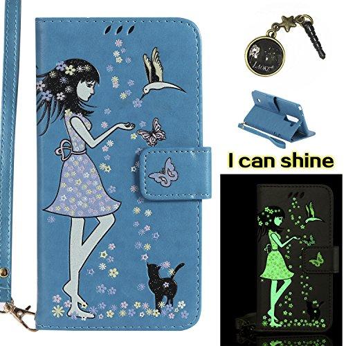 Preisvergleich Produktbild für LG Stylo 2 / LG Stylus 2 Plus LS775 Hülle Flip-Case Premium Kunstleder Tasche im Bookstyle Klapphülle mit Weiche Silikon Handyhalter Lederhülle für LG Stylus 2 / LG Stylus 2 Plus LS775 K520 (5,7 Zoll) Luminous Mädchen Katze case Hülle +Stöpsel Staubschutz (4)