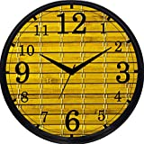 Cartoonpur Analog White Round 11 Inch Bamboo Curtain Silent Movement Non Ticking Wall Clock with Glass