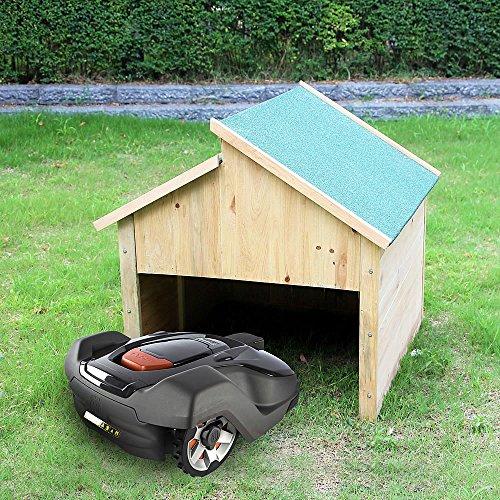 Melko Garage Carport Überdachung aus Holz für Mähroboter, Dach in Grün, 85 x 85 x 82,5 cm - bietet Schutz vor Hitze, UV-Strahlen, Regen uvm.